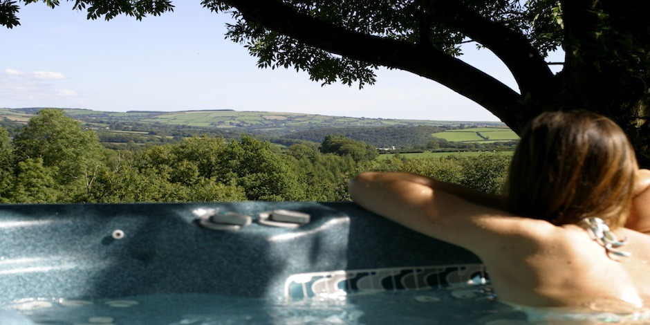 Outdoor hot tub with great views