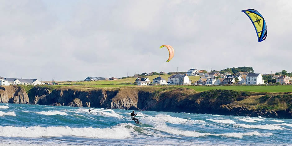Kite surfing at Poppit Sands Cardigan