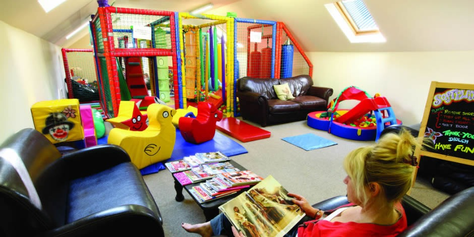 Relax in the Indoor Playroom whilst your little ones happily play