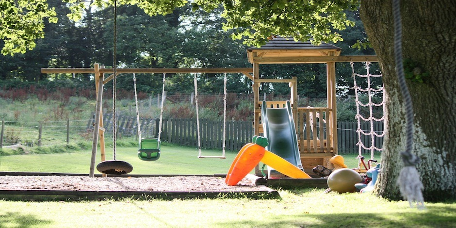 Outdoor Swings Sandpit Trampoline & Wendy House Too