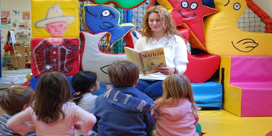 Farmer Rachel reading Matilda at Clydey Children's Club